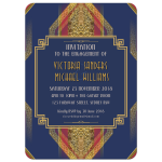 Royal Blue + Red Gold Art Deco Geometric Engagement Invitation