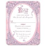 Pink and purple storybook fairy tale ornate frame wedding rsvp reply card front