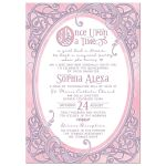 Pink and purple fairy tale once upon a time ornate frame Quinceañera invitation front