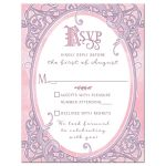 Pink and purple fairy tale ornate frame Quinceañera RSVP card front
