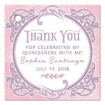 Pink and purple fairy tale ornate frame Quinceañera personalized thank you favor tags front