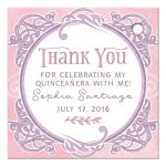 Pink and purple fairy tale ornate frame Quinceañera personalized thank you favor tags back