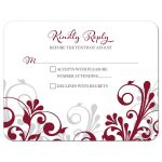 Burgundy, gray and white abstract floral wedding RSVP card front