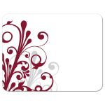 Burgundy, gray and white abstract floral wedding RSVP card back