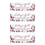​Burgundy, gray and white abstract floral personalized wedding address labels