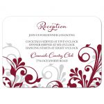 Burgundy, gray and white abstract floral wedding reception card front