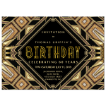 Art Deco Glam Gold Adult Birthday Invitation