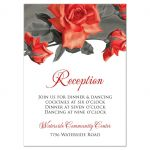 Vintage red rose wedding reception card
