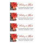 Vintage red rose personalized wedding address labels