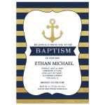 Gold and Navy Anchor Baptism Invitations