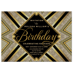 Sparkle Glam Deco Black and Gold Birthday