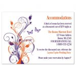Purple, orange and white tropical beach theme wedding reception enclosure cards with butterflies, flowers, vines and modern typography.