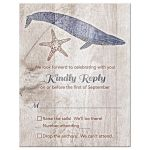 Rustic wood plank, whale, and starfish nautical wedding RSVP card front