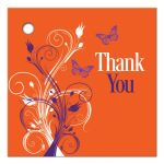 Great purple, orange, and white tropical beach theme wedding favor thank you gift tag with butterflies, flowers, vines and modern typography.