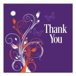 ​Best purple, orange, and white tropical beach theme wedding favor thank you gift tag with butterflies, flowers, vines and modern typography.