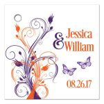 Personalized purple and orange tropical wedding favor tags, purple orange white floral wedding favors, destination wedding invites, purple and orange wedding theme, reception only invites with orange and purple flowers, wedding invitations with abstract orange purple flowers, beach theme wedding invites, orange purple and white wedding invitations, affordable destination wedding invitations, fresh and fun destination wedding invites, wedding invitations with purple butterflies