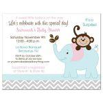Girl Monkey and Elephant Baby Shower Invitation