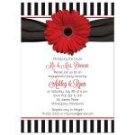 Retro 50s sock hop style red, black and white daisy and stripes engagement party invitation