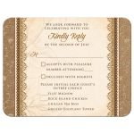 Elegant rustic burlap and lace wedding meal choice RSVP reply card front