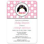 Baby Shower Invitations - Pink Penguin Polka Dot Girl