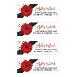 Retro red gerbera daisy, black and white polka dot and ribbon wedding address labels