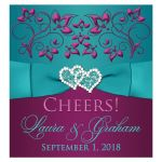 Great plum purple, teal blue and magenta pink floral wedding beverage or wine bottle label with ribbon, bow and jeweled joined hearts.