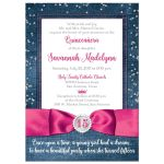 Great blue denim and diamonds Quinceanera invitations with silver glitter confetti, hot fuchsia pink ribbon and bow, decorative tiara, and a  round faux diamonds and silver buckle brooch with 15 on it.