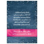 Blue denim and diamonds Quinceanera invites with silver glitter confetti, hot fuchsia pink ribbon and bow, decorative tiara, and a  round faux diamonds and silver buckle brooch with 15 on it.