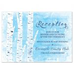 Unique winter birch tree wedding reception card in navy blue, sky blue, and white front