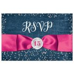Great blue denim and diamonds Quinceanera rsvp postcards with silver glitter confetti, hot fuchsia pink ribbon and bow, decorative tiara, and a round faux diamonds and silver buckle brooch with 15 on it.