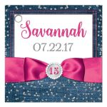 Great personalized blue denim and diamonds Quinceanera party favor gift tags with silver glitter confetti, hot fuchsia pink ribbon and bow, decorative tiara, and a round faux diamonds and silver buckle brooch with 15 on it.
