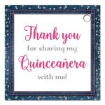 Personalized denim & diamonds Quinceanera party favor gift tags with silver glitter confetti, hot fuchsia pink ribbon and bow, decorative tiara, and a round faux diamonds and silver buckle brooch with 15 on it.