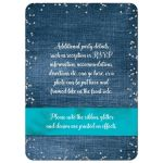 Denim and diamonds Quinceanera invitations with silver glitter confetti, turquoise or aqua blue ribbon and bow, decorative tiara, and a round faux diamonds and silver buckle brooch with 15 on it.