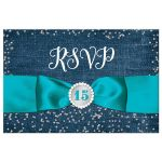 Great blue denim & diamonds Quinceanera rsvp postcard with silver glitter confetti, aqua teal turquoise blue ribbon and bow, decorative tiara, and a round faux diamonds and silver buckle brooch with 15 on it.