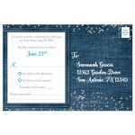 Denim and diamonds Quinceanera response cards with silver glitter confetti, aqua teal turquoise blue ribbon and bow, decorative tiara, and a round faux diamonds and silver buckle brooch with 15 on it.