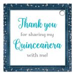 Personalized denim and diamonds Quinceanera party favor gift tags with silver glitter confetti, teal blue ribbon and bow, decorative tiara, and a round faux diamonds and silver buckle brooch with 15 on it.