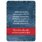 Denim and diamonds red, white and blue Quinceanera invitation with silver glitter confetti, red ribbon and bow, decorative tiara, and a round faux diamonds and silver buckle brooch with 15 on it.