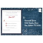 Denim and diamonds red, white and blue patriotic Quinceanera response cards with silver glitter confetti, red ribbon and bow, decorative tiara, and a round faux diamonds and silver buckle brooch with 15 on it.