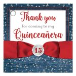 Denim & diamonds Quinceanera party favor gift tags in patriotic red, white and blue with silver glitter confetti, red ribbon and bow, decorative tiara, and a round faux diamonds and silver buckle brooch with 15 on it.