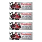 Red, grey, black and white go Kart racing Bar Mitzvah return address mailing labels