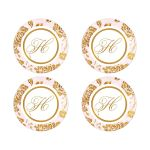 Vintage blush pink, ivory and gold roses or peony floral wedding stickers or envelope seals with monogram.