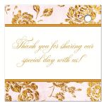 Monogrammed blush pink, ivory, and gold floral wedding favor thank you tag with vintage roses, peonies and flourish.