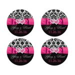 """Best 2"""" round hot pink, black, and white damask pattern wedding favor stickers with ribbon, bow, scroll, and jeweled joined hearts buckle brooch."""