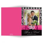 Pink, black, and white damask pattern photo wedding thank you card with ribbon, bow and jeweled joined hearts buckle brooch.