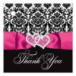 Hot pink, black, and white damask pattern wedding favor thank you gift tag with ribbon, bow, scroll, and jeweled joined hearts buckle brooch.