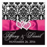 Personalized pink, black, and white damask pattern wedding favor thank you gift tag with ribbon, bow, scroll, and jeweled joined hearts buckle brooch.