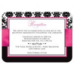 Fuchsia pink, black, and white damask pattern wedding reception and accommodations enclosure cards with ribbon and decorative scroll.