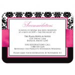 Pink, black, and white damask pattern wedding reception and accommodations enclosure card with ribbon and decorative scroll.