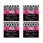 """2"""" square hot pink, black, and white damask pattern wedding favor thank you stickers with ribbon, bow, and jeweled joined hearts buckle brooch."""