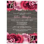Bridal Shower Invitations - Rustic Burgundy Pink Rose Wood